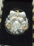 Mackenzie-childs Silver Lining 2018 Wreath Glass Ornament With Gift Box