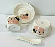 Childandrsquos Dinnerware Set 4 Pieces My Name Is Happy Adorable Pink Cows Birds Music