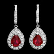 1.15ct Natural Round Diamond 14k Solid White Gold Ruby Anniversary Hoop Earring