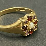 Solid 9ct Gold Antique Seed Pearl Garnet And Amethyst Ring Beautiful Setting