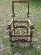 19th Century English Style Carved Walnut Lolling Chair Lion Heads Acanthus Leave