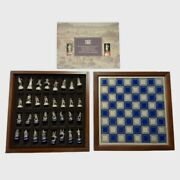 National Historical Society Civil War Chess Set Franklin Mint Wood Pewter 1983