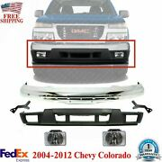 Front Bumper Chrome + Valance + Fog Lamps For 04-12 Gmc Canyon / Chevy Colorado