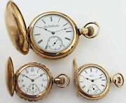Lot 3 Vintage Gold Filled Pocket Watches Elgin And Waltham Years 1891, 1897 And 1910