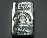 2 Oz. 999 Silver Bar - Hand Poured Silver Bullion Chunky Bar For Silver Stackers