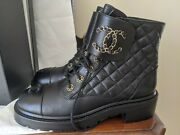Black Combat Boots 2021 Nib Quilted Cc 39 Size