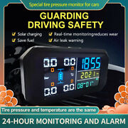 Solar Power Tpms Car Tire Pressure Monitoring System Alarm Lcd Time Display Tyre