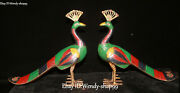 11 Collect Tibet Bronze Turquoise Coral Gems Bird Peacock Peahen Statue Pair