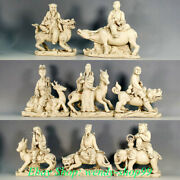 Old China Dehua White Porcelain Feng Shui Eight Immortals On Horse Tiger Statue