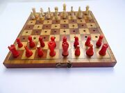 Antique Miniature Travel Chess With Set Of Bone Figures
