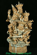 22 Old China Green Glaze Porcelain 4 Great Heavenly Kings Immortals Sculpture