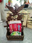 Vintage Cast Iron Match Book Holder For Hearth/fire Place Mantel
