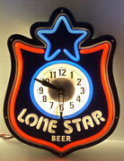 Vintage 1980s Lone Star Beer Lighted Clock Man Cave Rare
