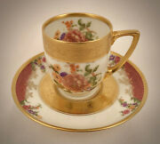 Antique Black Knight Demitasse Cup And Saucer Floral And Gold