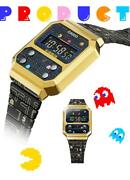 Casio Pac-man Collaboration Watch A100wepc-1bjr Limited Collection Gold And Black