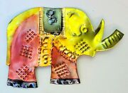 Vintage Punched Tin Christmas Tree Ornament Mexican Folk Art Elephant Metal