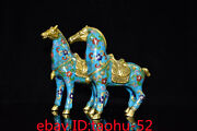 6.4old Antique Chinese Bronze Gilt Cloisonne Tangma Ornaments Statue