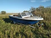 16 Foot Blue And White Imperial Silverline Boat With Motor And Trailer No Paddle