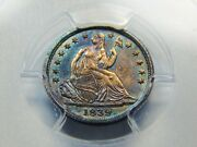 1839-o H10c Seated Liberty Half Dime No Drapery Ms-61 Pcgs Great Color