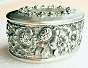 Big Antique Victorian Sterling Silver Floral Repousse Jewelry Trinket Box Oval