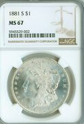 Ms67 Ngc 1881-s Morgan Silver Dollar - White And Super Eye Appeal