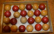 Antique Pool Billiard Table Balls 24 Old Balls In Wooden Box