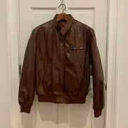 Vtg 1980's Members Only Leather Jacket Cognac Brown Iconic Speed Cafe Racer