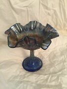 Antique  Fenton Persian Medallion Carnival Glass Dish Compote Blue Large