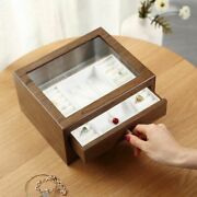 Large Wooden Jewelry Box Organizer Drawer Display Earring Ring Necklace Casket