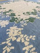 Vintage Printed Heavy Cotton Tablecloth Farmhouse White Ivory Blue Floral Chic