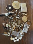 Vintage Compacts Swiss Wrist Watches Rolex Souvenir Spoons Old Keys Old Buttons