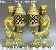 12 Old China Bronze Gilt Ancient Words People Man Servant Oil Lamp Statue Pair