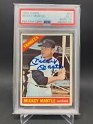 1966 Topps Signed Mickey Mantle Auto Psa 3 And Psa 10 Auto Pop 8 Yankees