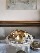 Antique Fabric Glass Pearl Iridescent Gold Cover Confectionery / Bowl