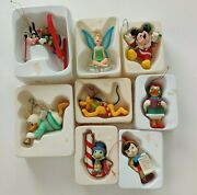 Disney Grolier Edition Mickey Mouse Goofy Donald Christmas Ornaments Lot Of 8