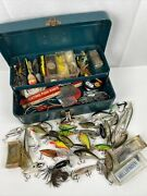 Vintage Union Made Steel Chest Tool Box Blue/green Fishing Tackle Box Full Lures