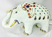 Buccellati Elephant Ceramic Glazed Hand Painted Collectible