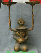 34old China Han Dynasty Bronze Ware Gilt Slave People Candle Holder Candlestick