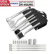 20 Piece Stainless Steel Bbq Grill Tools Set Camping Barbecue Utensil Kit Us