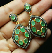 Beautiful Vintage Natural Emerald And Diamond 925silver Earrings Christmas Gifts