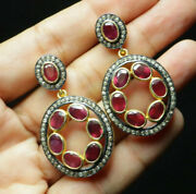 Beautiful Vintage Natural Ruby And Diamond 925 Silver Earrings Christmas Gifts