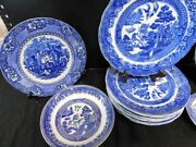 Flow Blue Dishes - Spode Blue Willow Churchill Ye Olde Willow