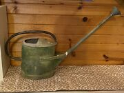 Huge Antique Watering Can 36andrdquo Copper Handle 26andrdquo Long Spout Old Green Paint