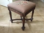 Vintage Victorian Carved Wood Serpentine Base Footstool Needlepoint Cover