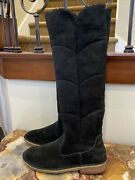 Ugg Samantha Quilted Suede Shearling Tall Boots, Black, Size 7 - 8
