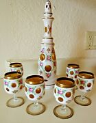 Antique Moser Bohemian White Cut To Gold Glass Decanter W/6 Cordial Glasses-mint