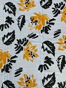 Vintage Fabric Black Yellow White Textured Tropical Flowers Leaves 2 Yards