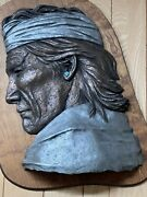 Large Relief Wall Bronze Sculpture By Philip Vickers With Real Turquoise 32andrdquox22andrdquo
