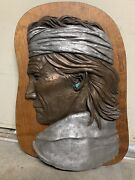"""Large Relief Wall Bronze Sculpture By Philip Vickers With Real Turquoise 32""""x22"""""""