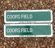 2 Vintage Metal Coors Field Signs 22andrdquox6andrdquo 20th And Blake St - Colorado Rockies